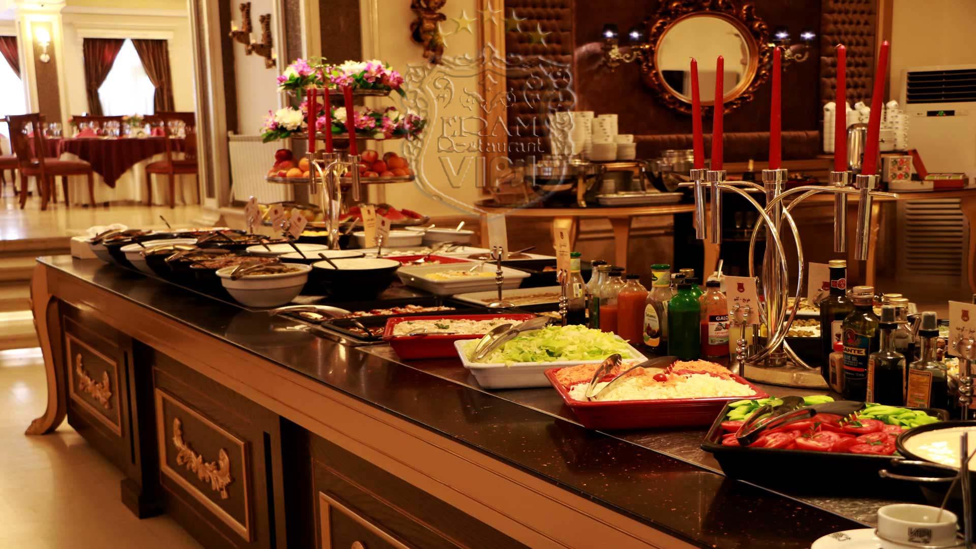 میز سلف رستوران ارم شاندیز